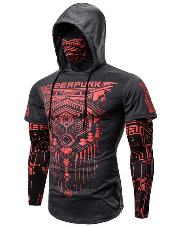 Sports Fake Two-piece Hooded Long-sleeved T-shirt