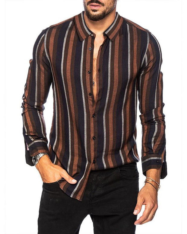 Striped Slim Fit Long Sleeve Shirt