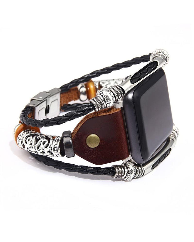 Iwatch Leather Alloy Strap Stainless Steel Buckle Bracelet
