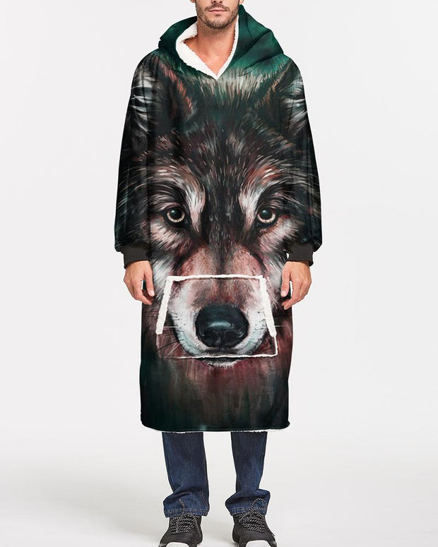 Wolf Printing Long Sleeve Hoodies Sweatshirts