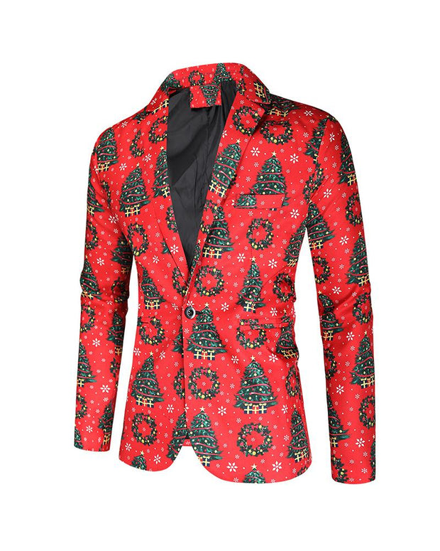 Christmas Patterns Long Sleeve Single Button Blazer
