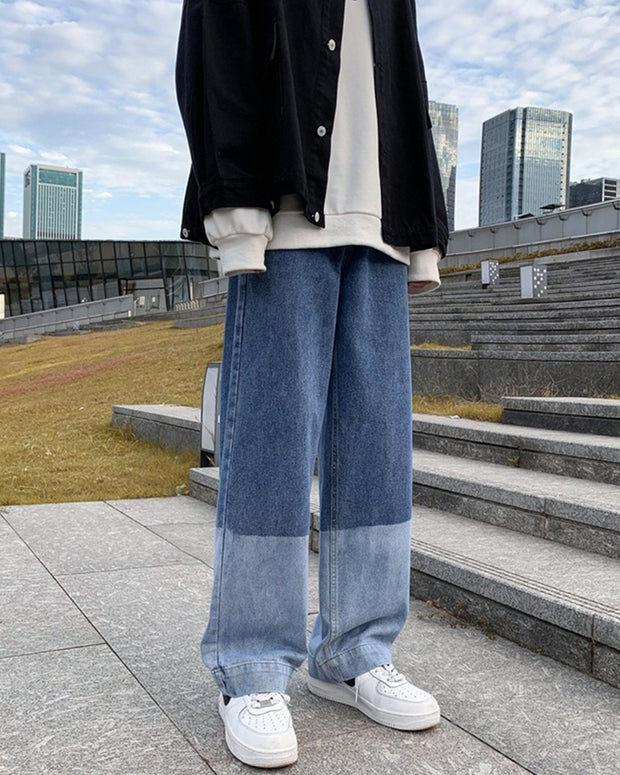 Patchwork Loose Wide Leg Denim Pants