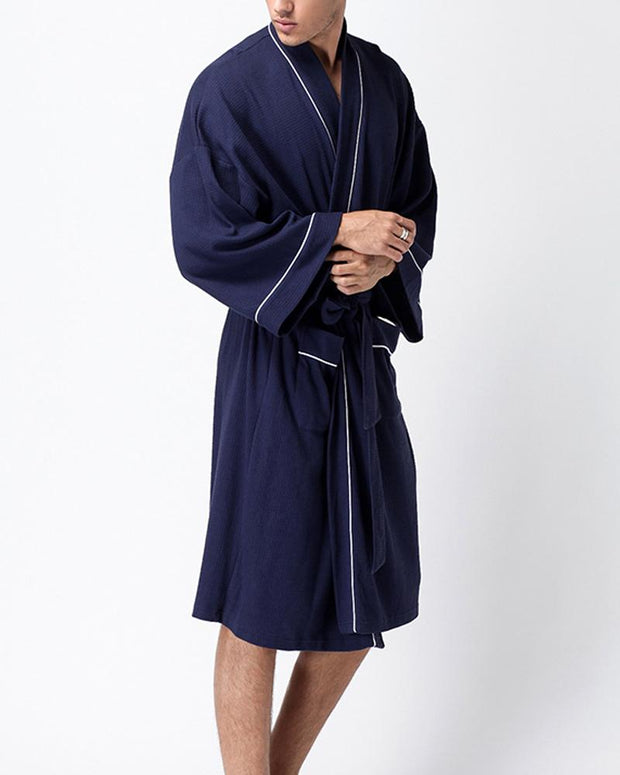 Solid Long Sleeve Loose Bathrobe Sleepwear