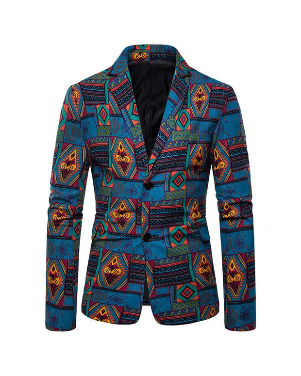 Retro Patterns Long Sleeve Single-breasted Blazer