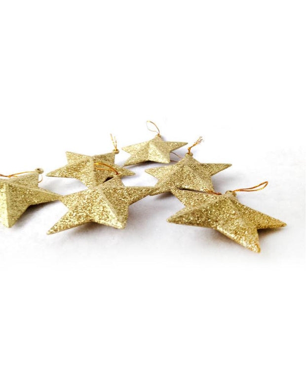 Christmas Decorations Glitter Star Six Sets
