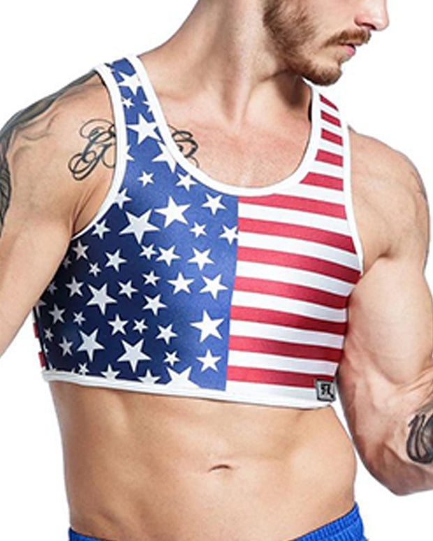 Flag Printing Sleeveless Skinny Cropped Sporty Tanks