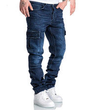 Solid Color Washing Effect Straight Jean Pants