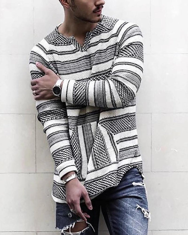 Striped V Neck Long Sleeve Shirt