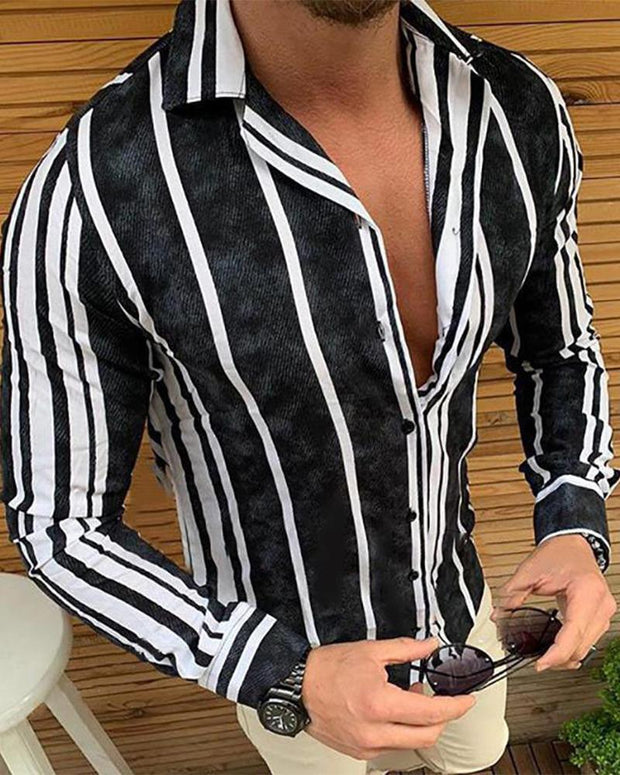 Gradient Striped Long Sleeve Shirt T-shirt