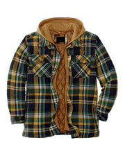 Color Plaid Long Sleeve 2 In 1 Hooded Overshirts Coats