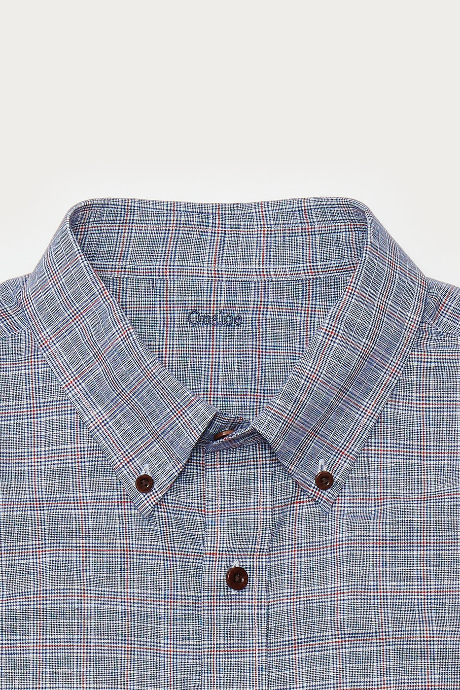 Load image into Gallery viewer, Felder Linen Shirt in Navy & Red Plaid