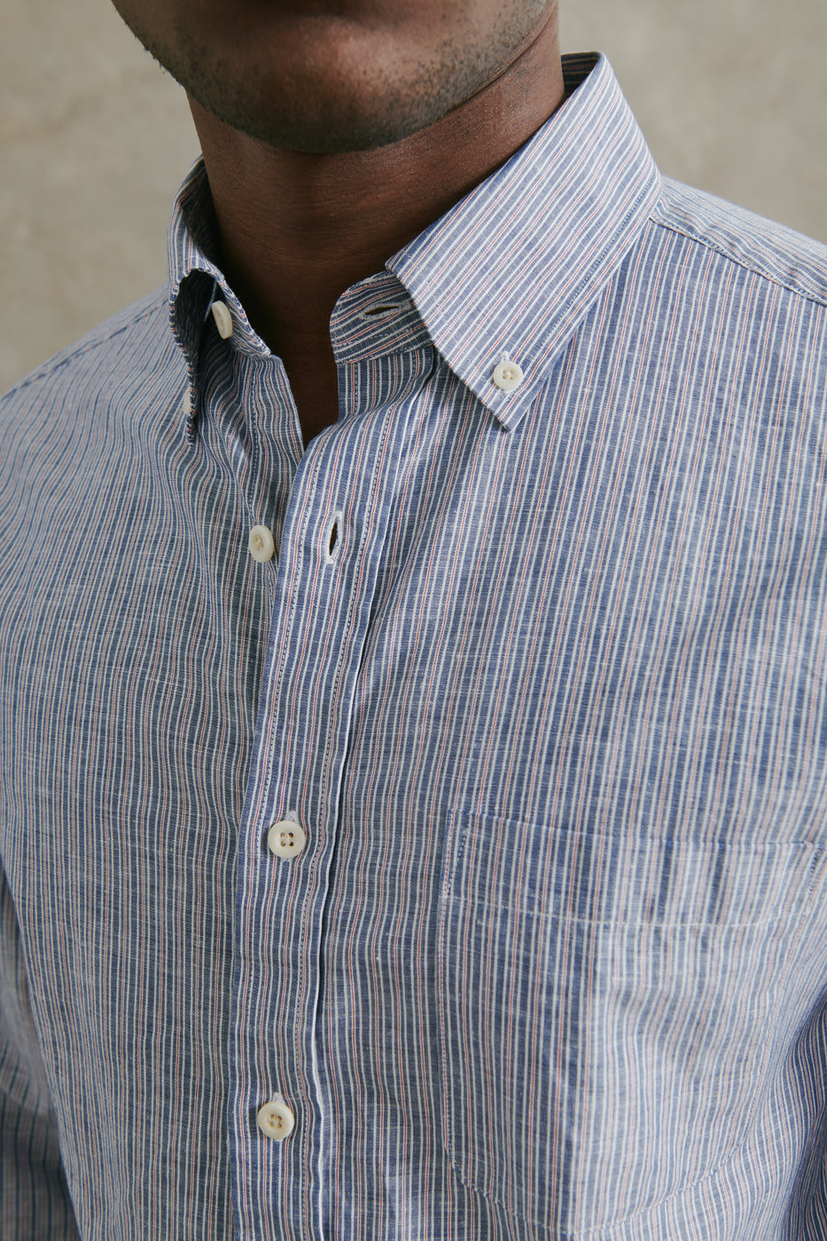 Load image into Gallery viewer, Fahm Linen Shirt in Blue & Red Stripe