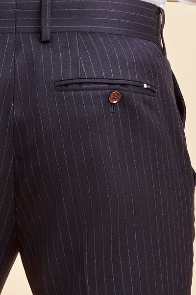 Load image into Gallery viewer, Gardiner Pinstripe Suit Pant in Navy