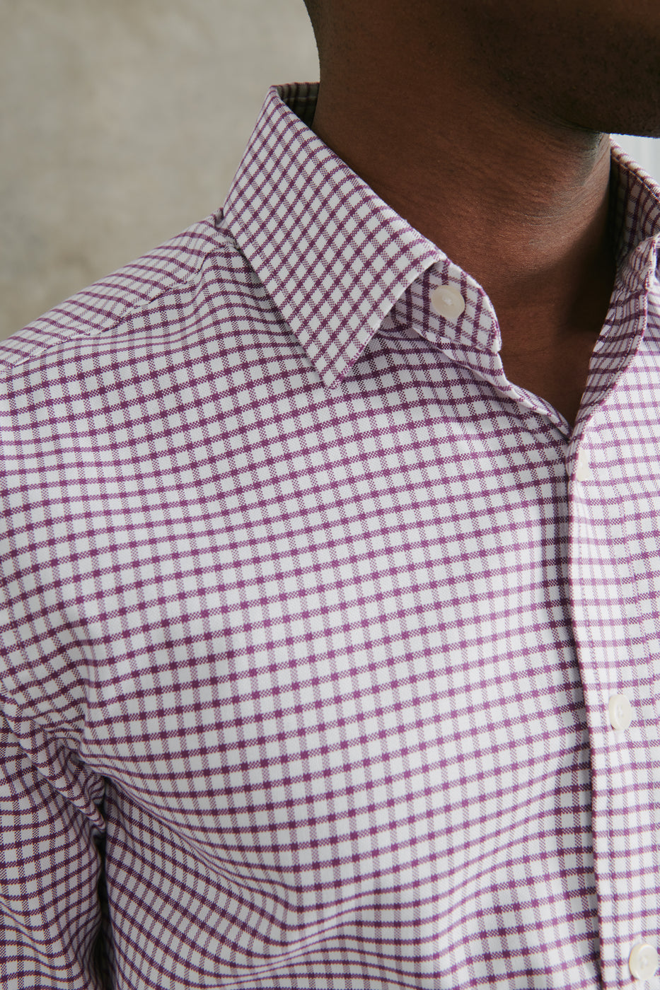 Load image into Gallery viewer, Hall Dress Shirt in Maroon & White Check