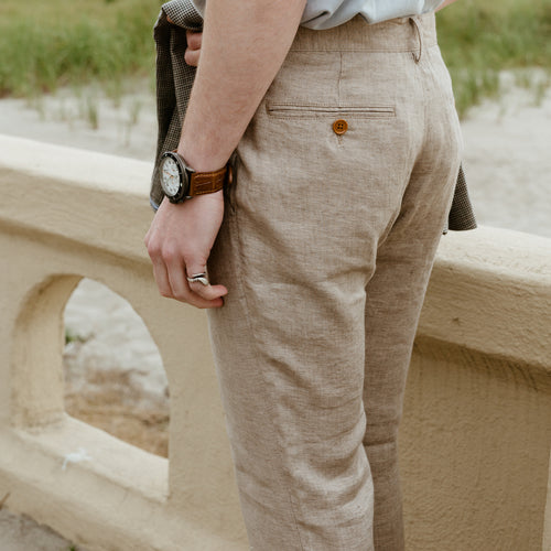 Bradford, Limited Edition Men's Linen Chino in Khaki