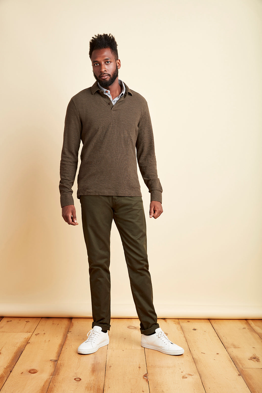 Jewett Waffle Knit Polo in Army Green