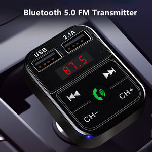 Fast USB Car Charger Bluetooth 5.0 FM Transmitter Modulator Handsfree Car Kit 3.1A Fast Phone Charger Audio MP3 Player