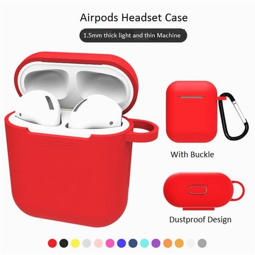 TPU Silicone Earphone Case with Carabiner Hook AirPods Bluetooth Wireless Headset Protection Cover For Air Pods Protective Cases