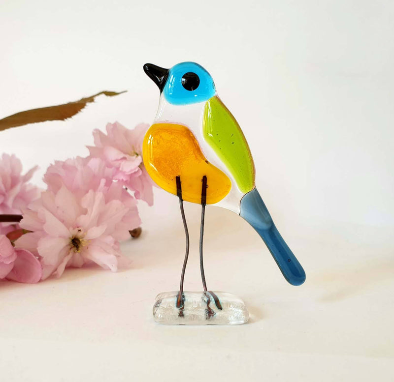 Standing glass bird