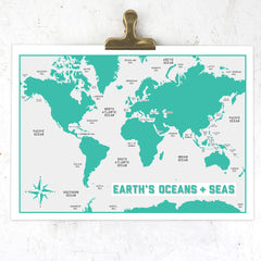 Earth's oceans & seas A3 print