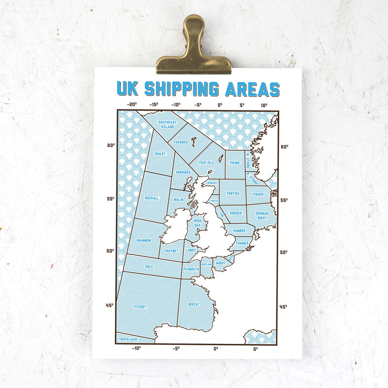 UK Shipping Areas A3 print