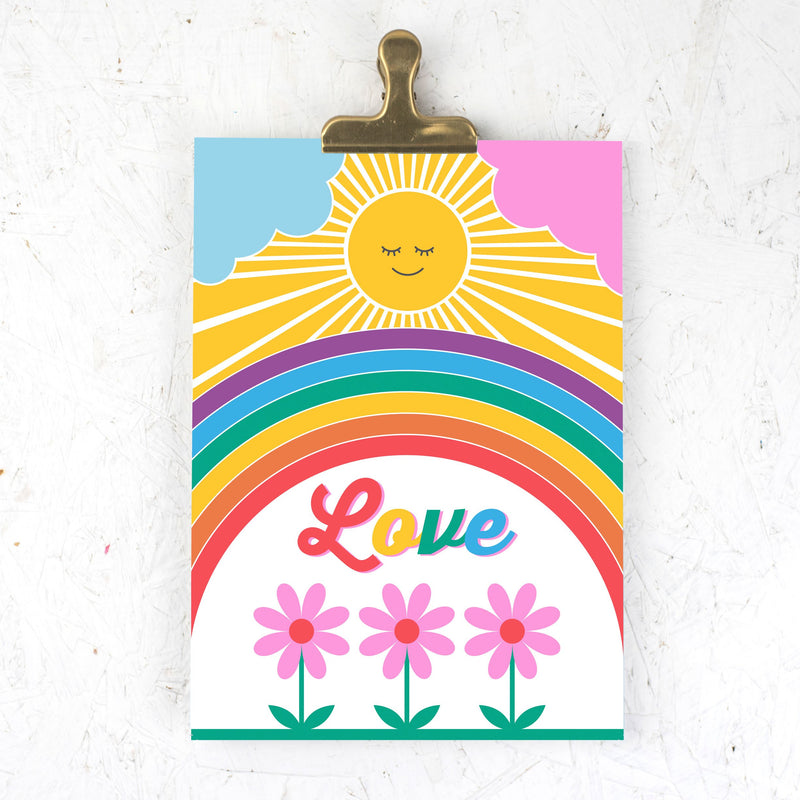Sunshine love rainbow A4 print