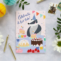 Celebrate and eat cake/badger card