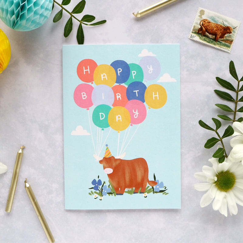 Happy birthday - Highland Cow and balloons card