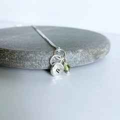 Sterling silver heart nugget with peridot necklace