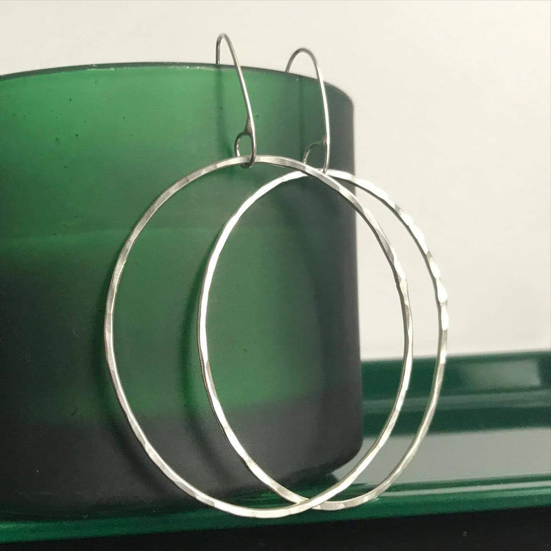 Sterling silver large irregular oval hoop earrings
