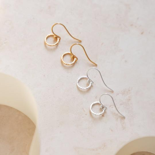 Drop earrings – faceted circle (Sterling Silver or 18ct Yellow Gold Vermeil)
