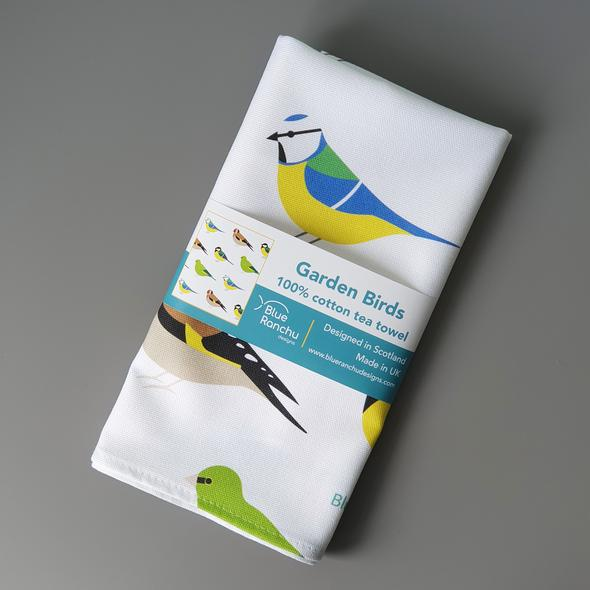 Birds tea towel - garden birds / puffins / robins designs available