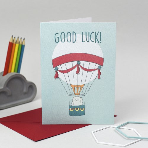 Good luck - cat in hot air balloon card