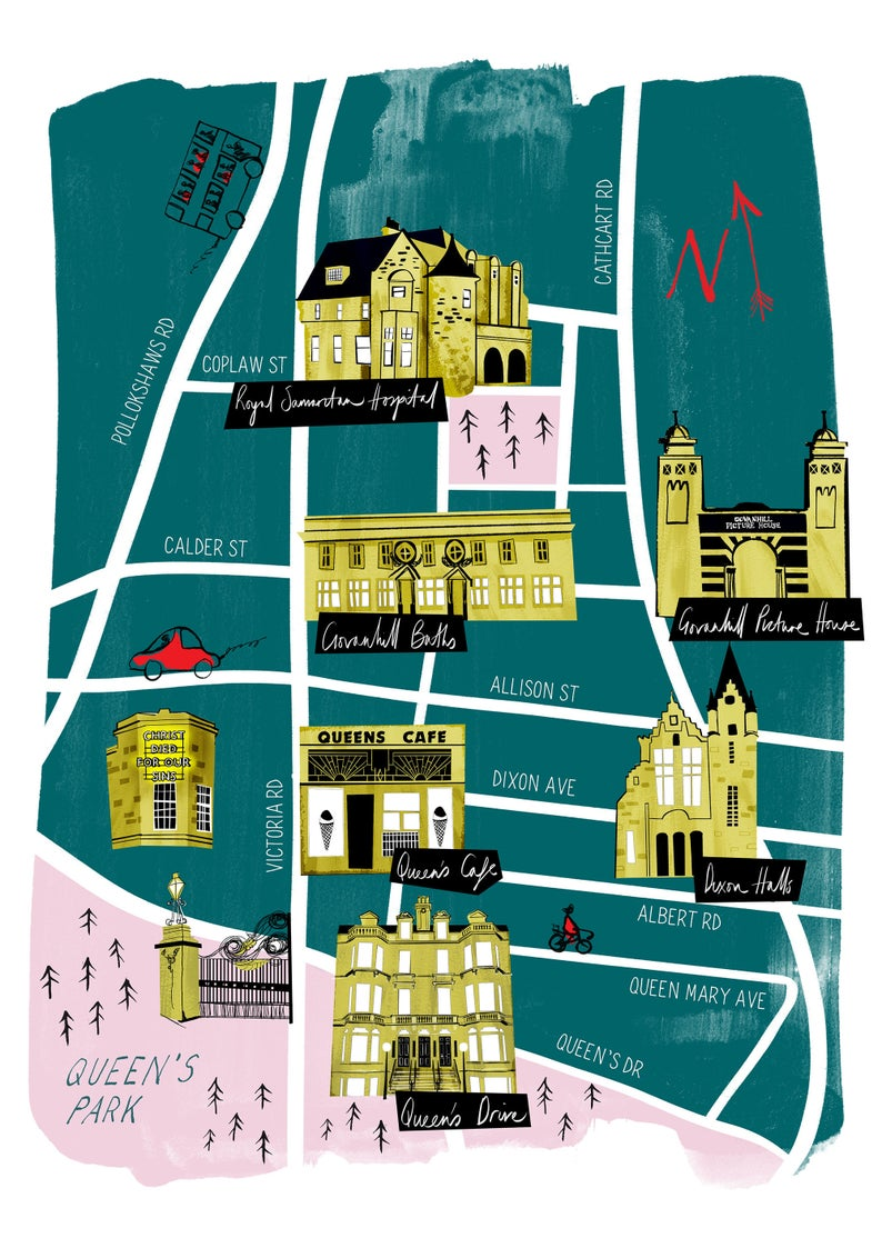 A3 Glasgow map print - Govanhill & Queen's Park