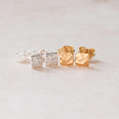 Stud earrings – hammered square (Sterling Silver or 18ct Yellow Gold Vermeil)