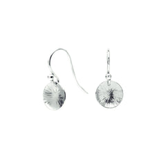 Drop earrings – Sterling Silver hammered disc