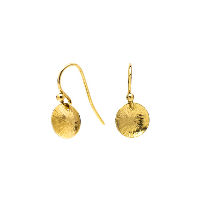 Drop earrings – 18ct yellow gold vermeil hammered disc