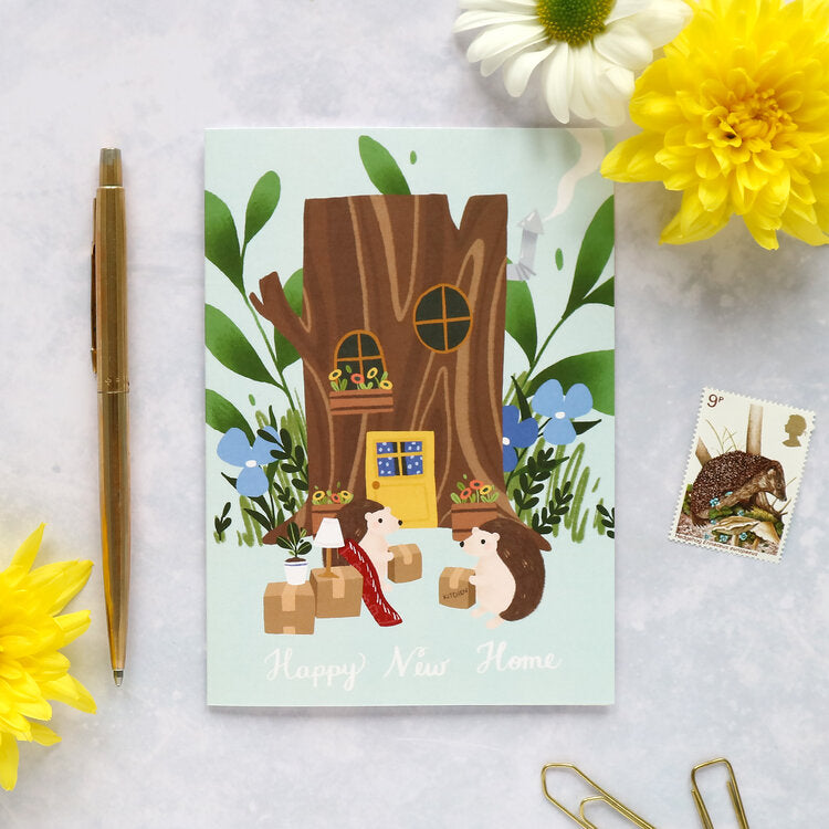 Happy new home/hedgehogs card