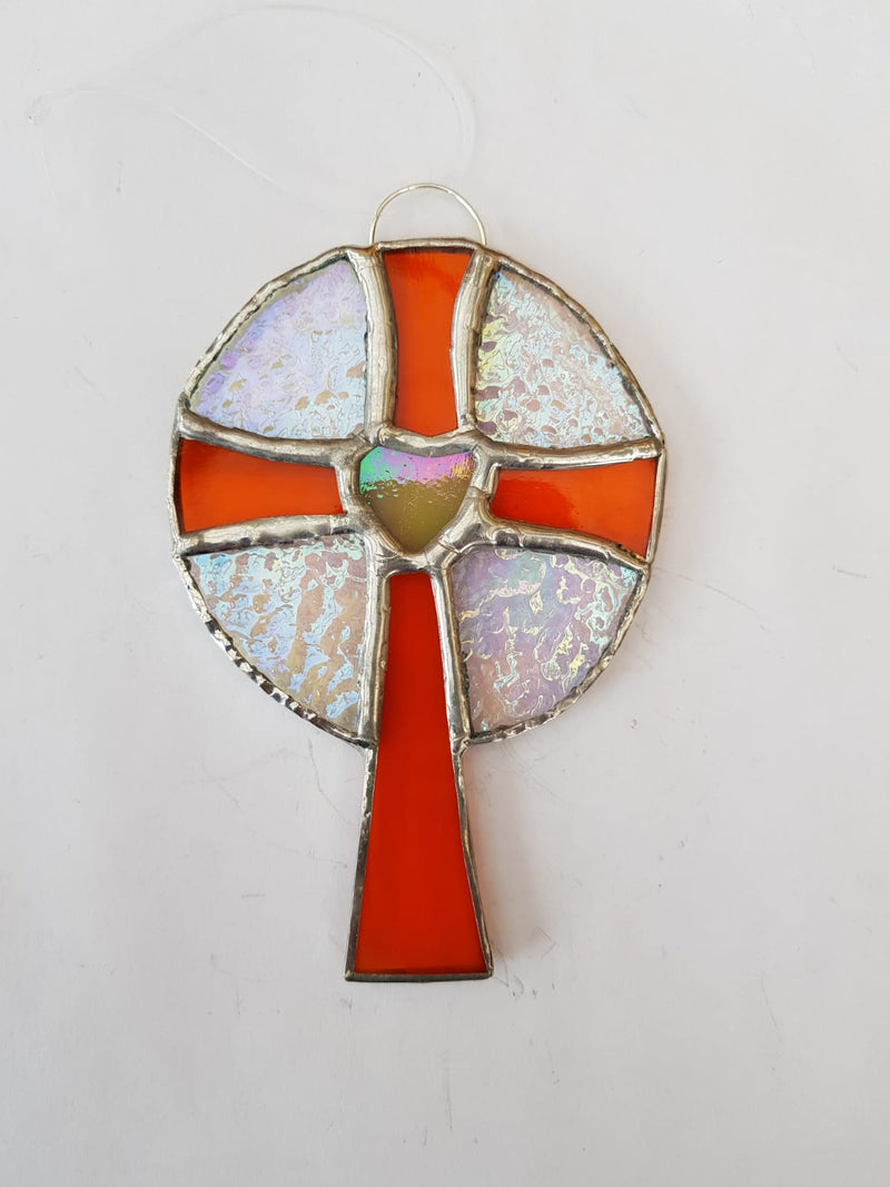 Stained glass heart cross