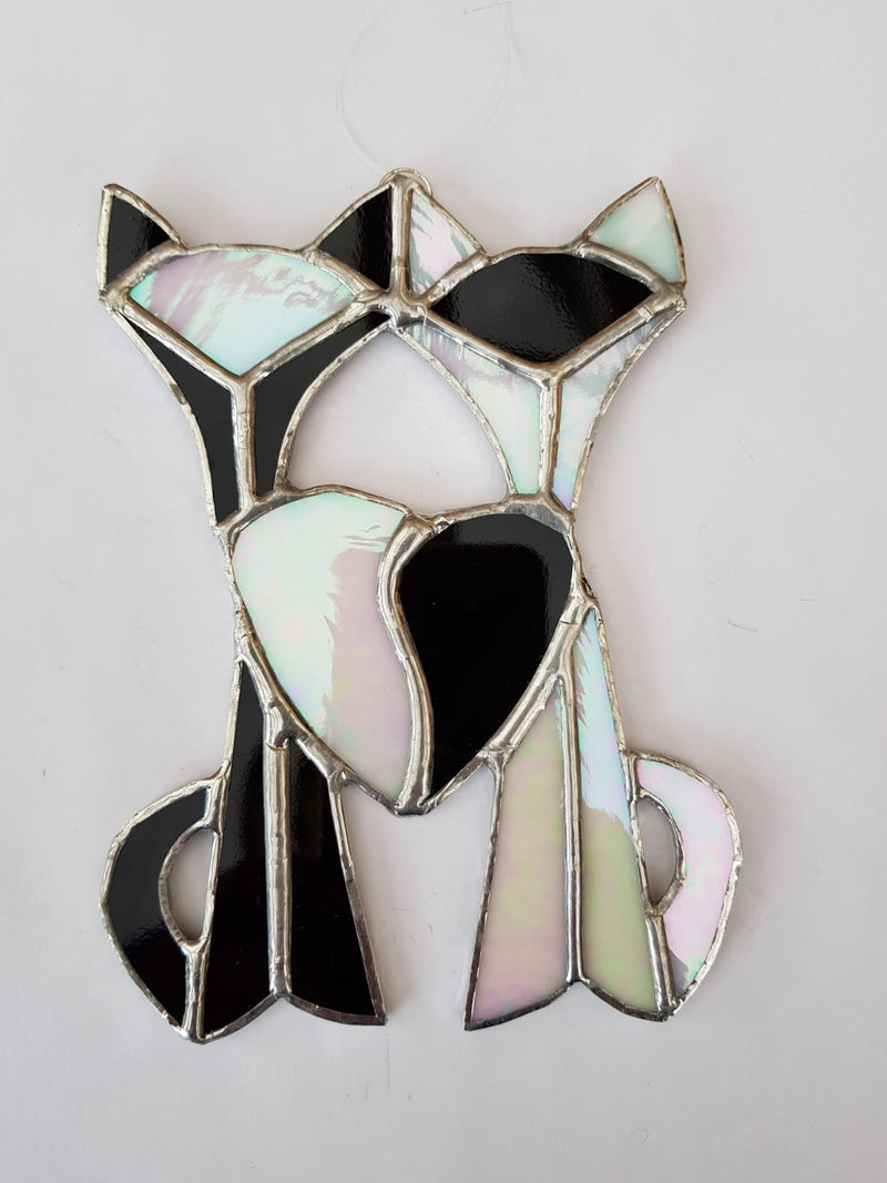 Stained glass Siamese cats