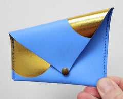 Asymmetric leather purse - cornflower blue
