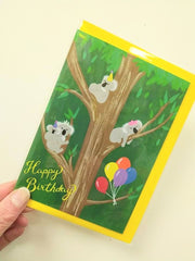 Happy birthday - koalas card