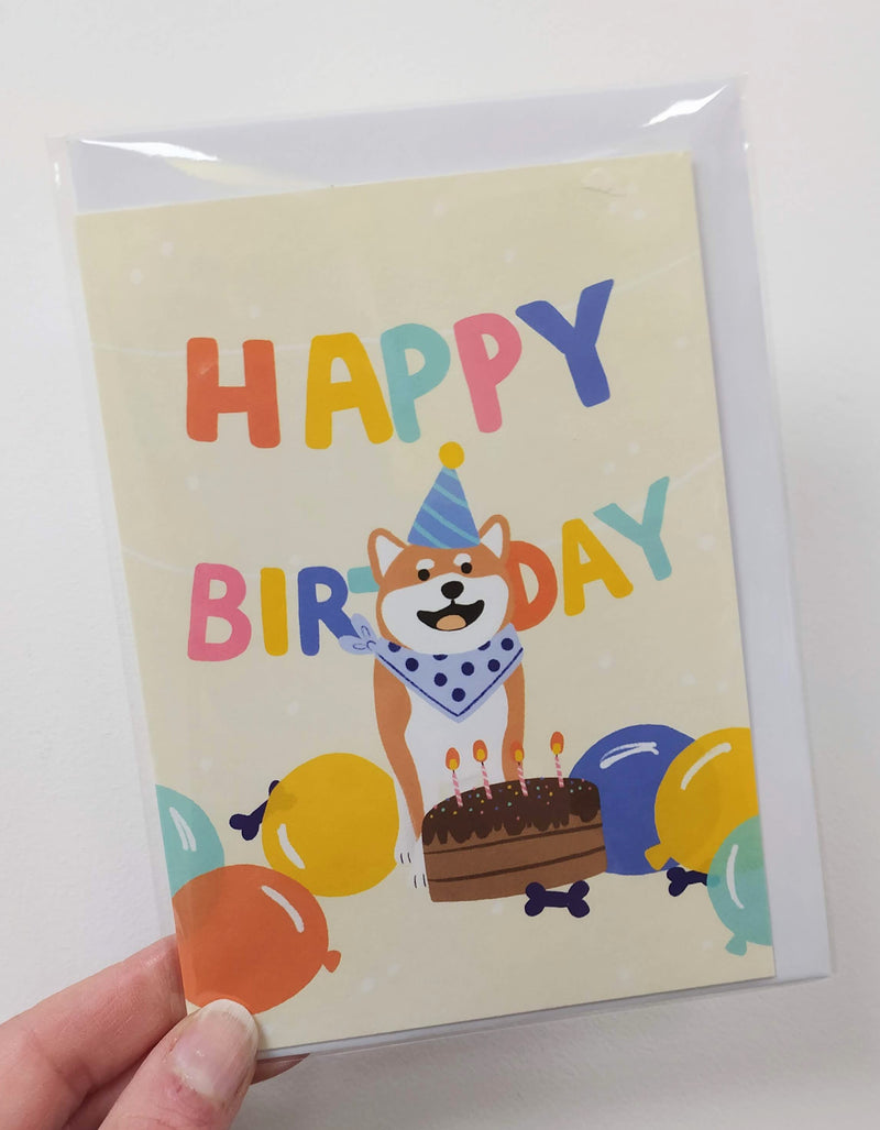 Happy birthday - Corgi dog in bandana with a cake card
