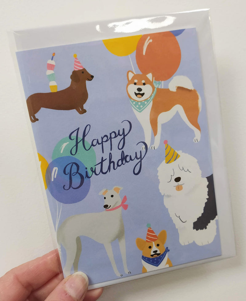 Happy birthday - dogs and balloons card