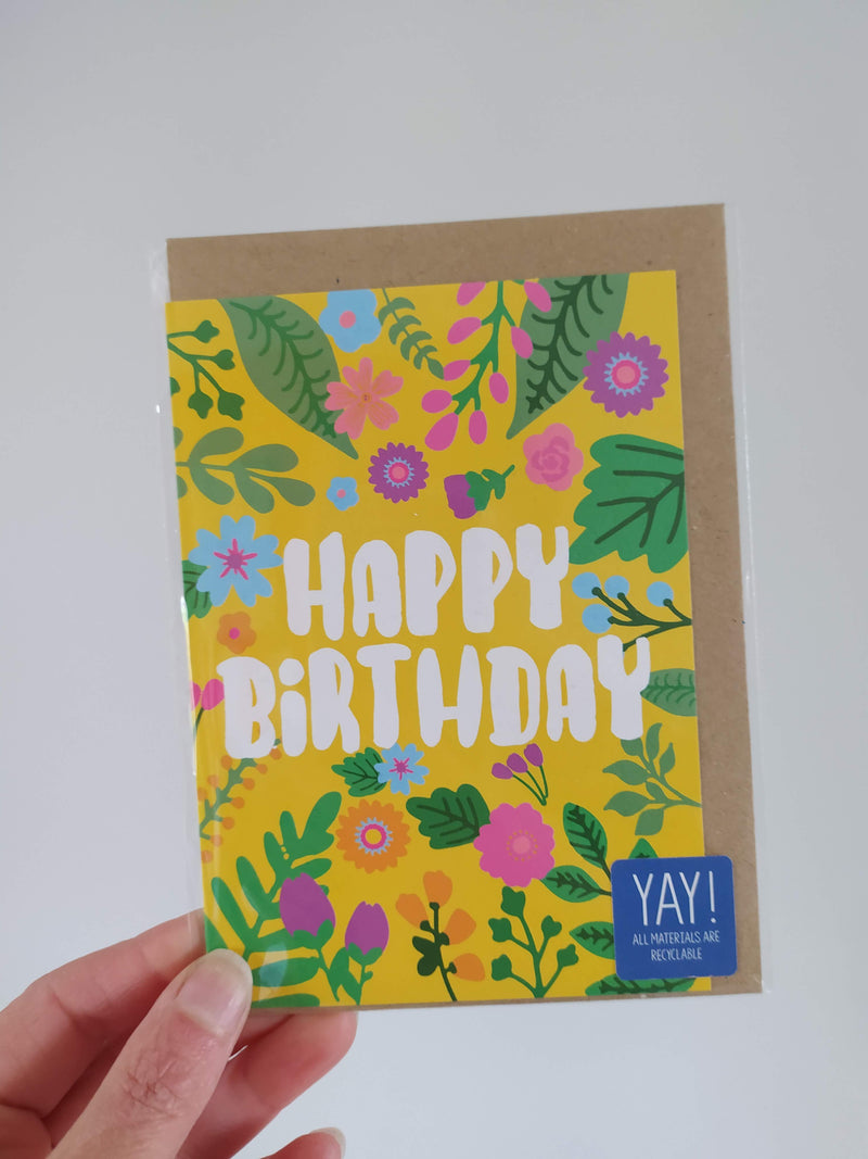 Happy birthday/floral card (2 colours available)