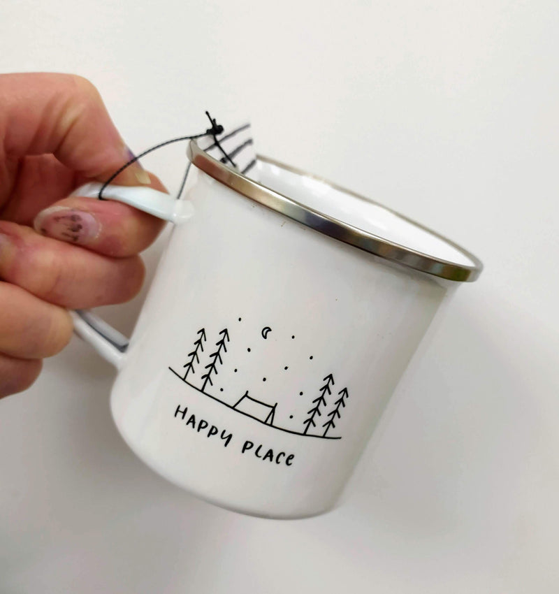 Happy place enamel mug