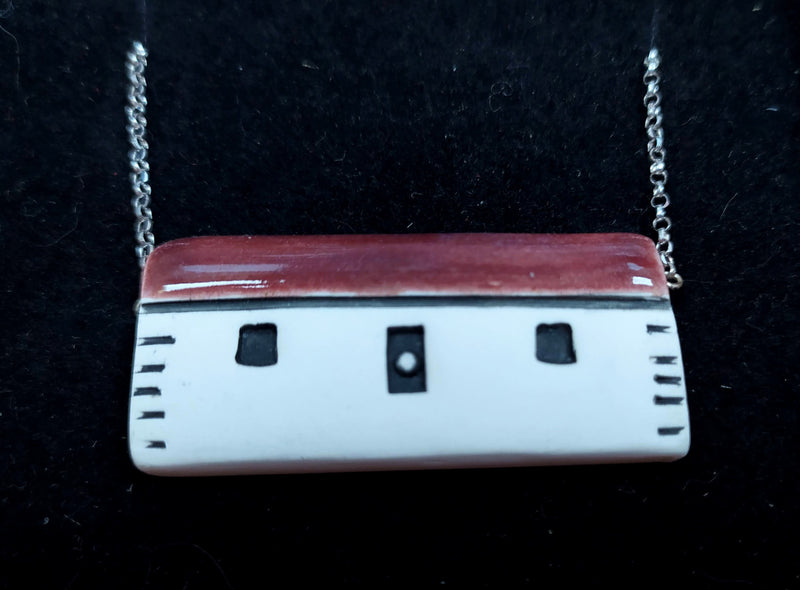 Scottish bothy ceramic pendant  - burgundy roof