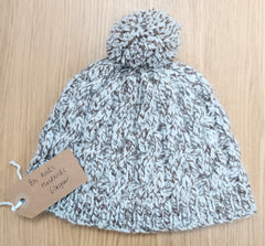 Hand knitted cabled Arran hat - white/brown fleck