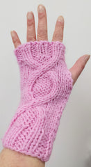 Hand knitted fingerless gloves/wrist warmers - pink