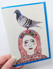 Illustrated card - woman with pigeon